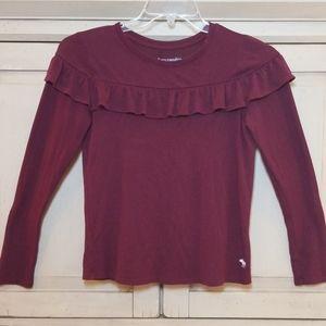 Abercrombie Kids Girls Maroon Ruffle LS Shirt